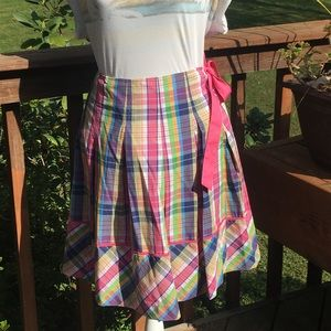 Lilly Pulitzer Camille Wrap Skirt Whitworth Plaid